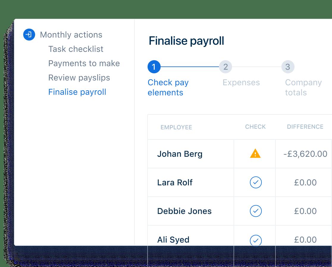 Finalise payroll dashboard