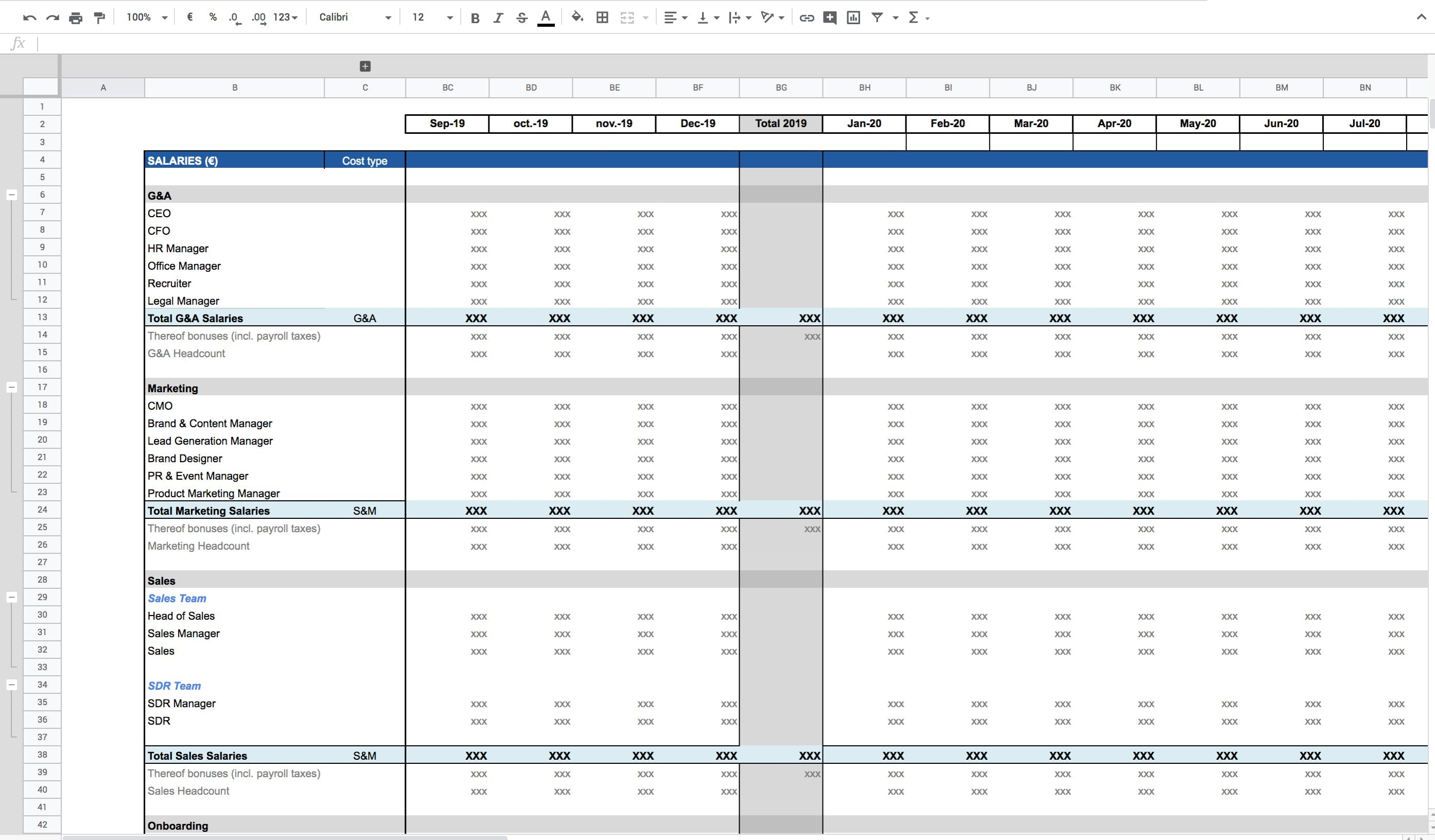 Exemple de projection salariale effectuée à l'aide des données extraites de PayFit