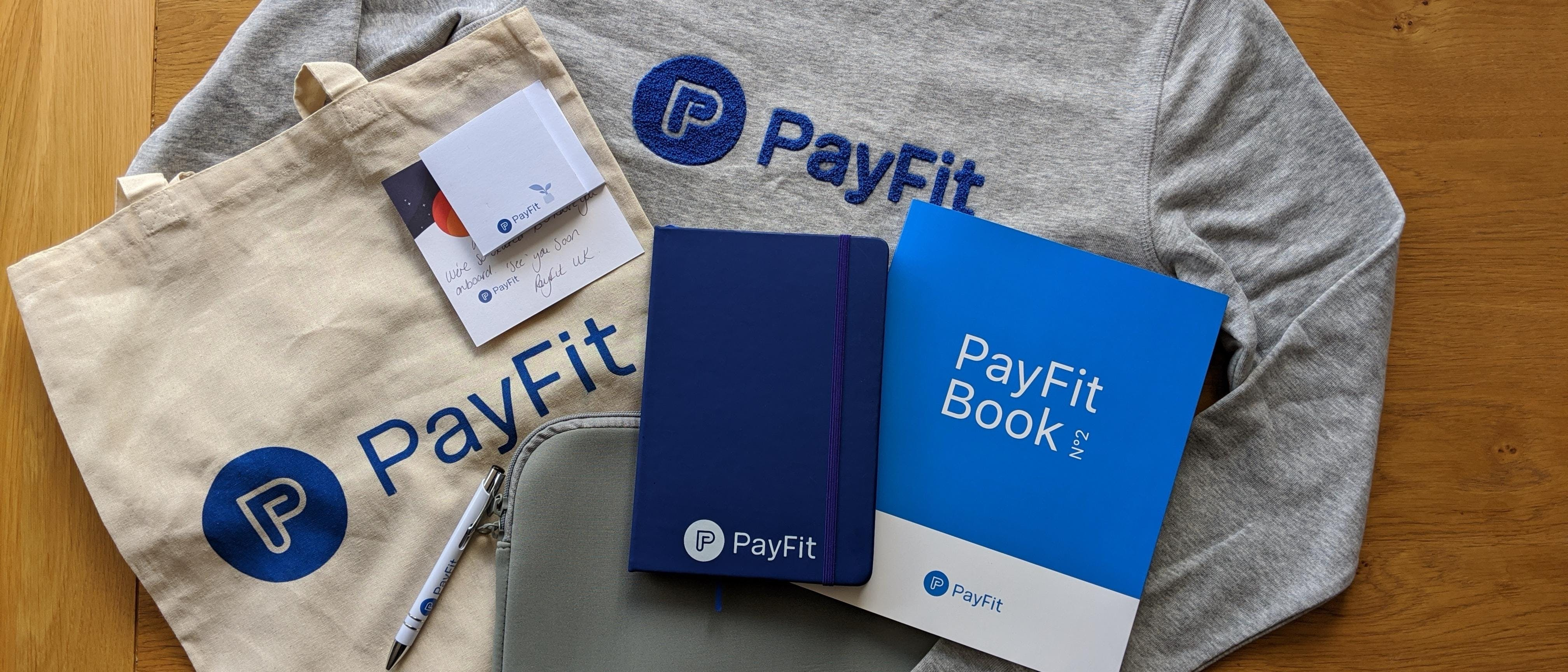 PayFit new starter goodie bag.