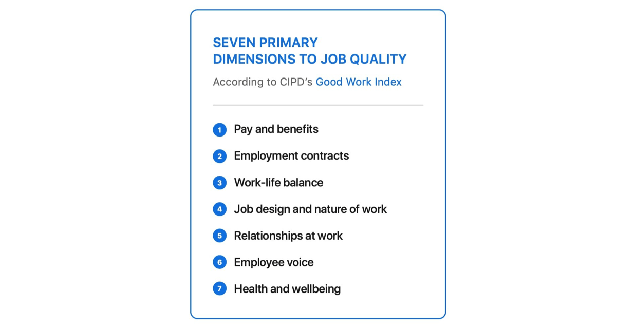 Seven dimensions to job quality.
