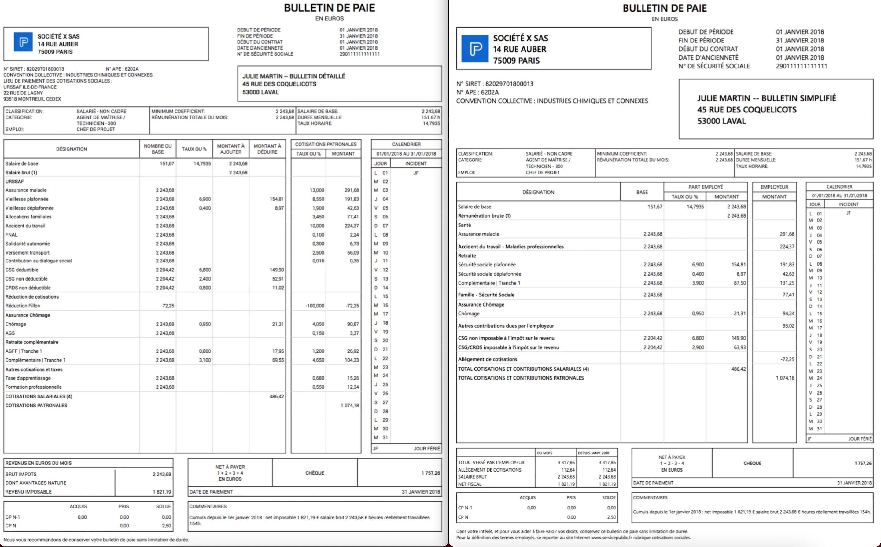 Exemples de bulletin de paie traditionnel et de bulletin de paie clarifié