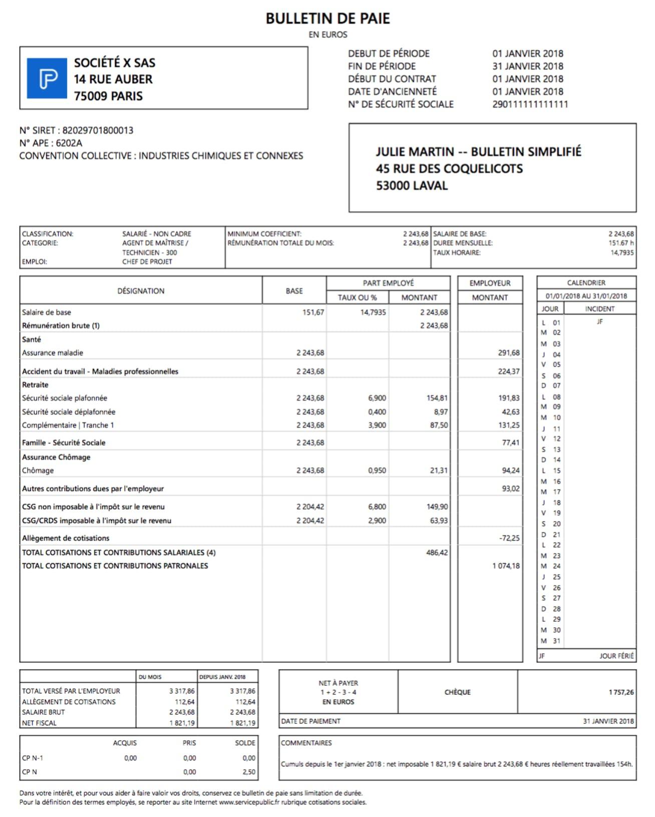 modele bulletin de paie simplifié