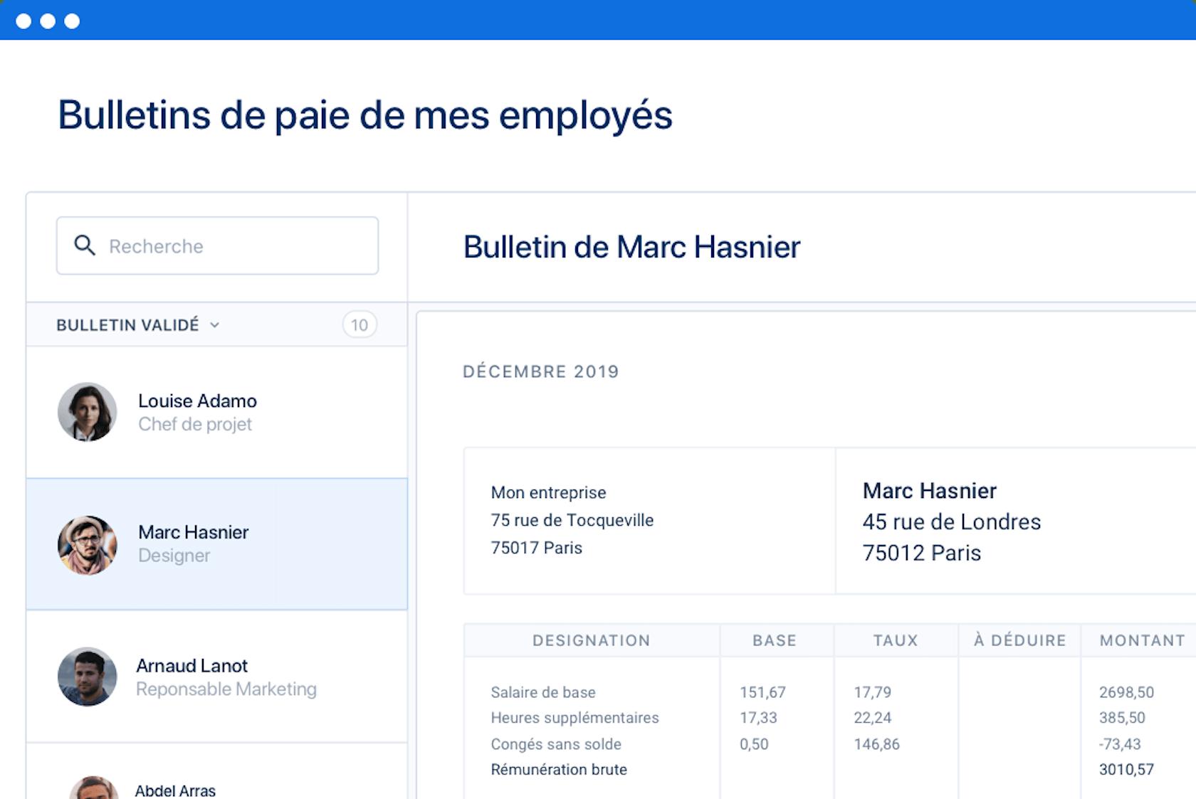 Bulletins de paie de mes employés