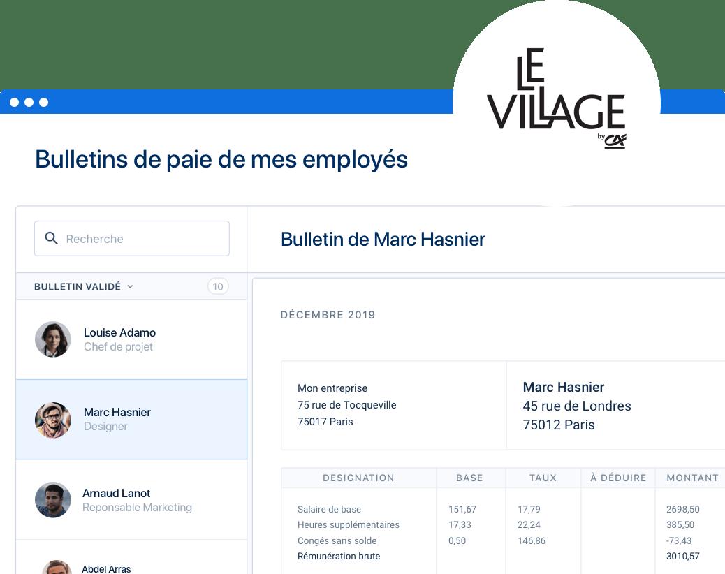 Espace employeur PayFit, partenariat Village by CA