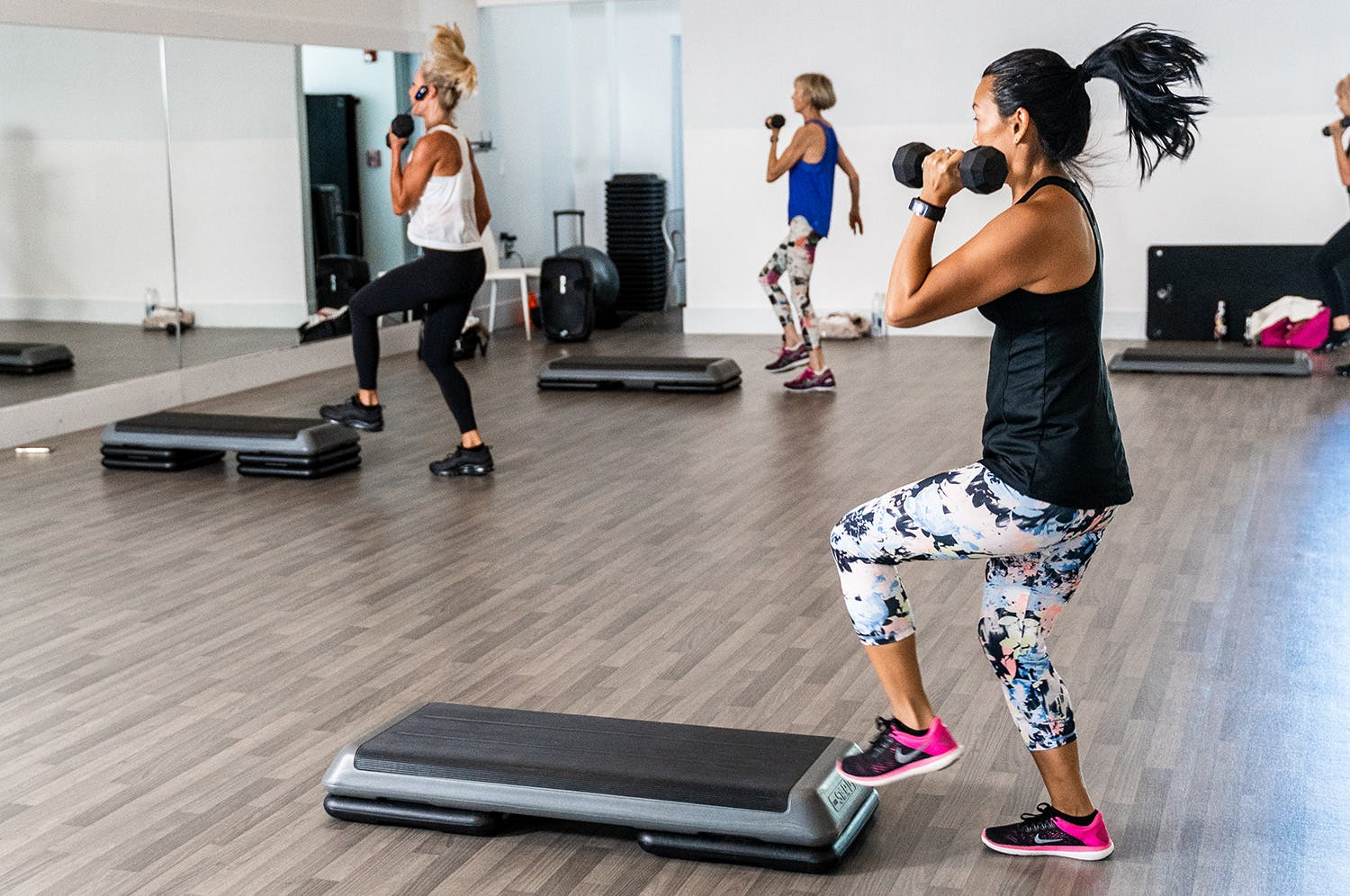 Members participating in tabata class at the gym