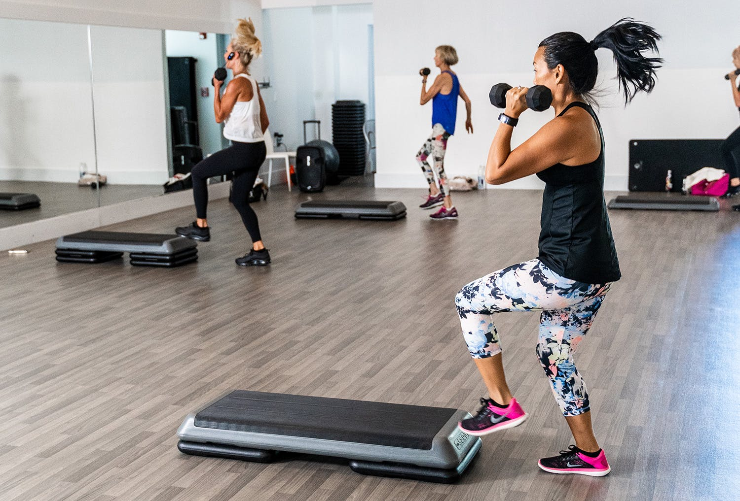 Members in a power sculpt class at the gym
