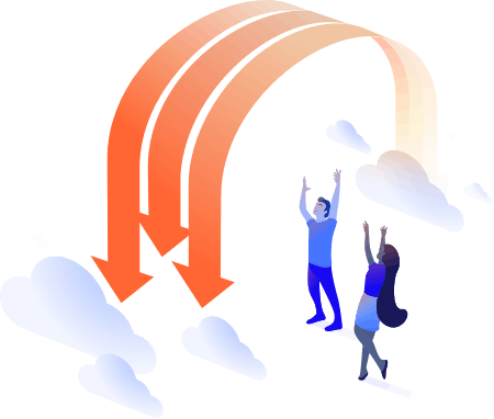 people, arrows, clouds