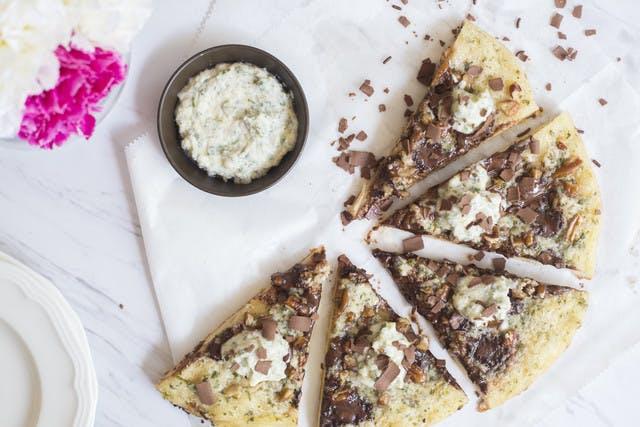 Sliced Chocolate Pecan Pizza with Vanilla, Mint & Mascarpone