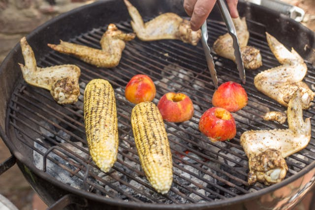 Todd Richards' Coffee-rubbed wings with corn on the cob and grilled peaches