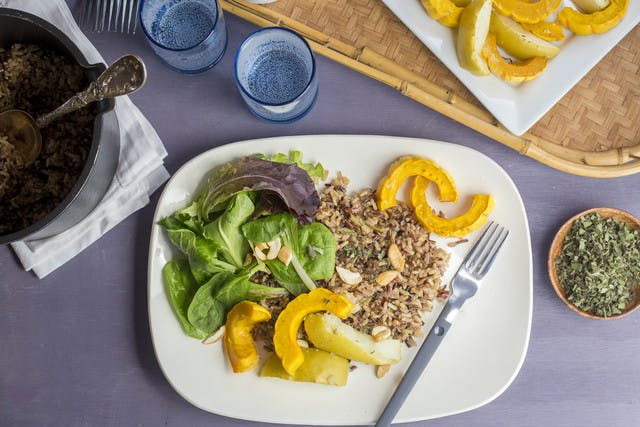 Roasted Squash & Apples with Wild Rice, Cashews & Aged Balsamic Vinegar