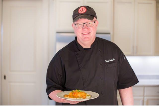 Doug Turbush with his Catfish Etoufee for PeachDish