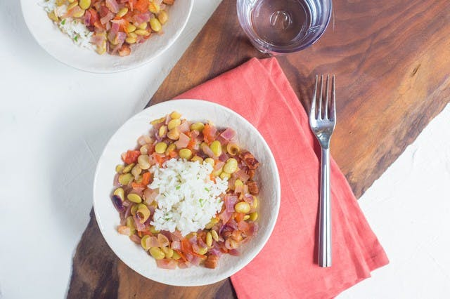 Smoked Bacon and Butter Beans with Pickled Fennel over Herbed Rice