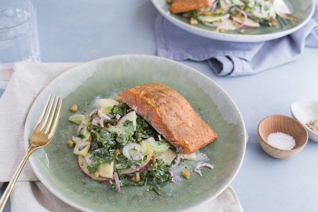 Mustard Glazed Alaskan Sockeye Salmon with Blue Cheese Walnut and Apple Kale Slaw