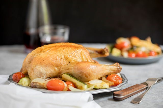 Pasture-Raised Chicken Roasted with Zucchini, Tomatoes & Onions