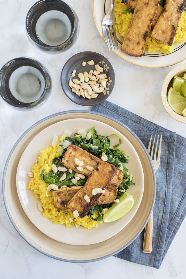 Bruleed Tofu with Coconut Ginger Greens and Turmeric Rice