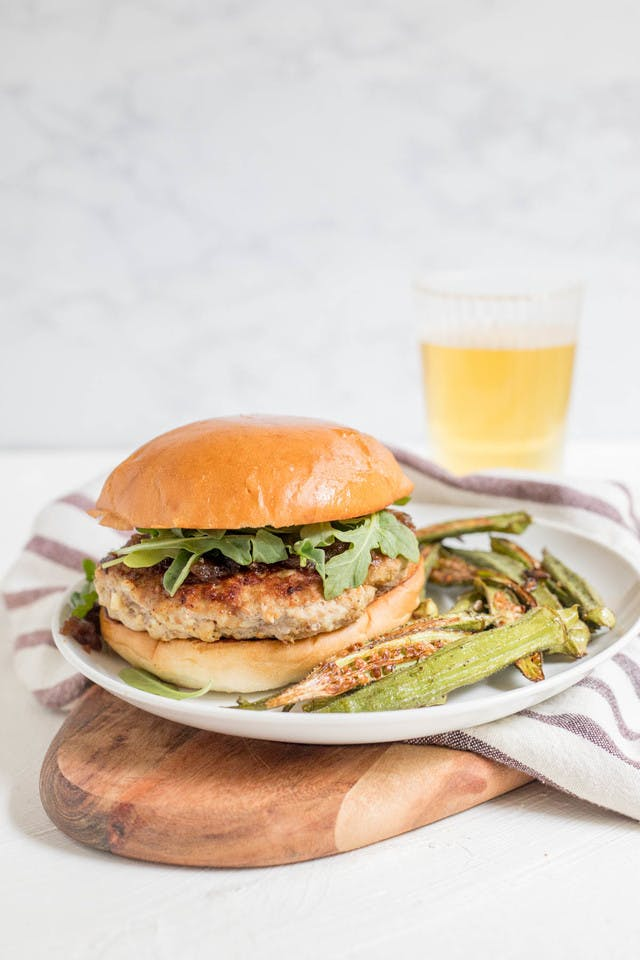Turkey burger with balsamic red onion chutney and roasted okra