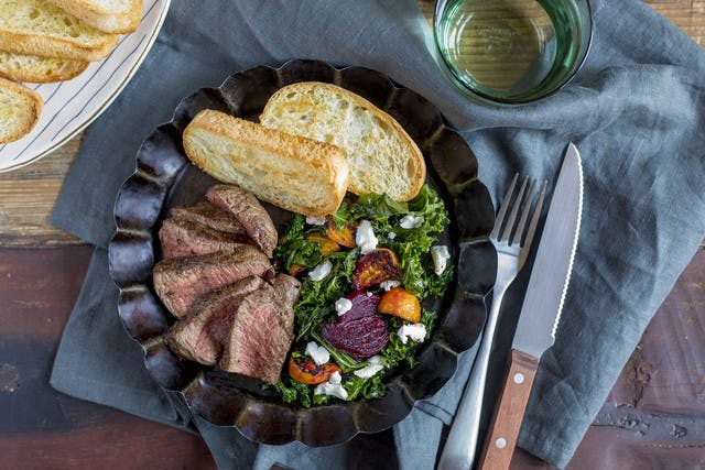 Georgia Grown Filet Mignon with Roasted Beets, Goat Cheese & Citrus Salad