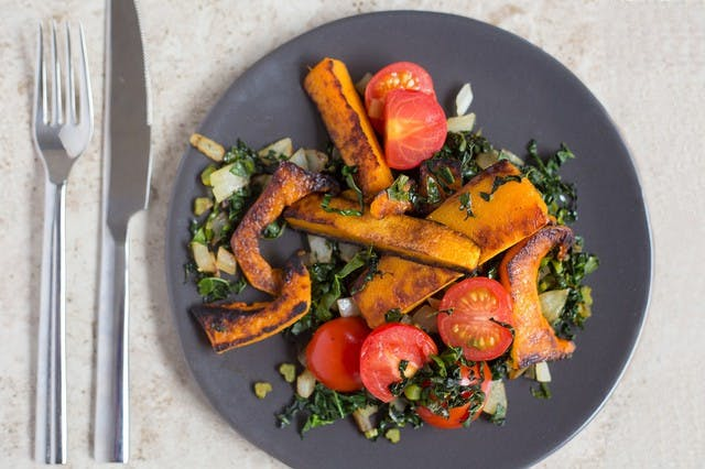 Pan-Roasted Butternut Squash with Greens and Cherry Tomatoes