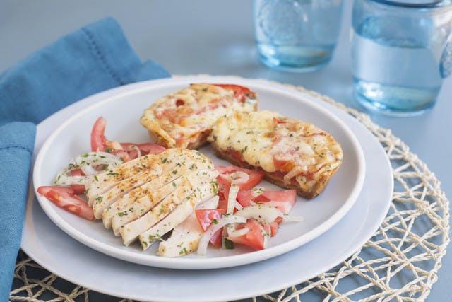 Tomato pie with vidalia onion and herbed chicken