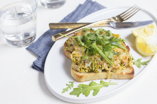 Summer Squash Tartine with Arugula, Almonds & Honey Drizzle