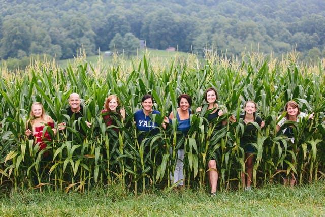 Poppy Handcrafted Popcorn team in a cornfield