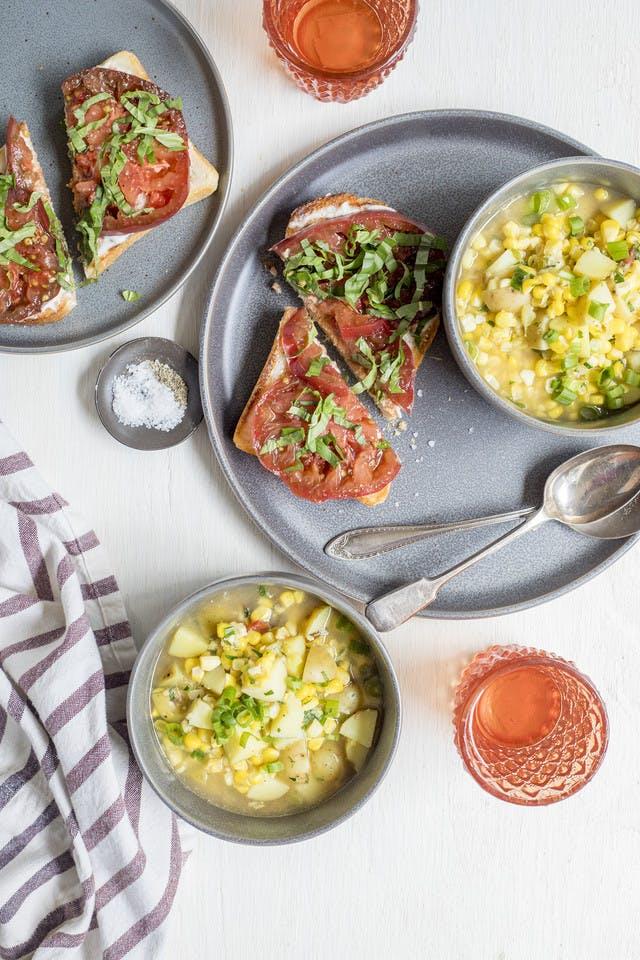 Fresh Corn, Herb & Potato Soup with Tomato-Basil Sandwich