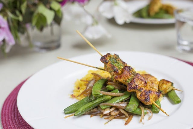 Chicken Kebabs over Saffron-Barberry Rice with Sugar Snap Peas