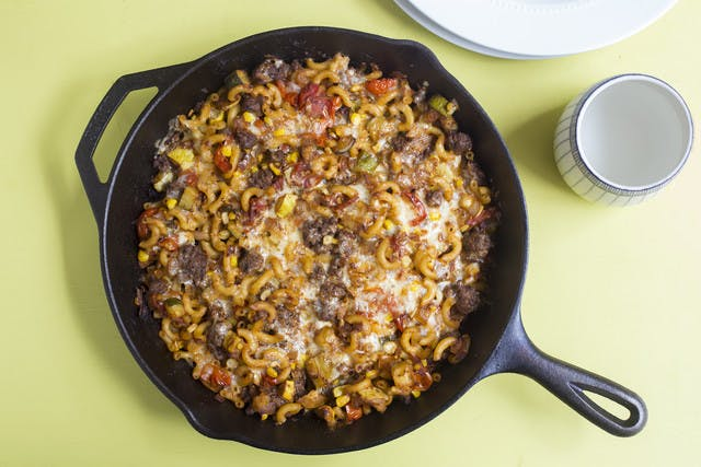 Summer Beef Skillet with Sweet Corn, Gruyere & Macaroni