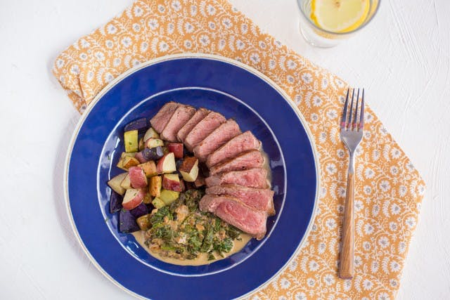 Georgia Grown Strip Steak with Creamed Spinach & Roasted Potatoes