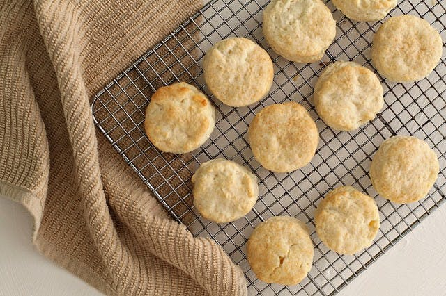 buttery biscuits cooling on a wire rack