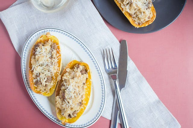 Stuffed Delicata Squash with Beef, Rice Grits & Manchego
