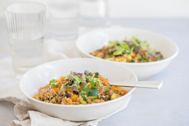Pearl Couscous with Squash, Tomato & Microgreens
