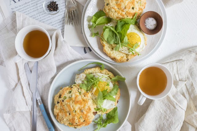 Bacon-Cheddar Scone with Sunny-Side Up Farm Egg & Spicy Greens