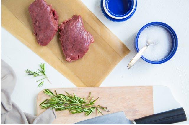 2 hanger steaks on deli paper