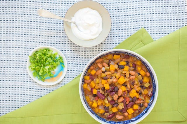 Butternut Squash & Three-Bean SuperFood Chili with Roasted Red Pepper & Crema