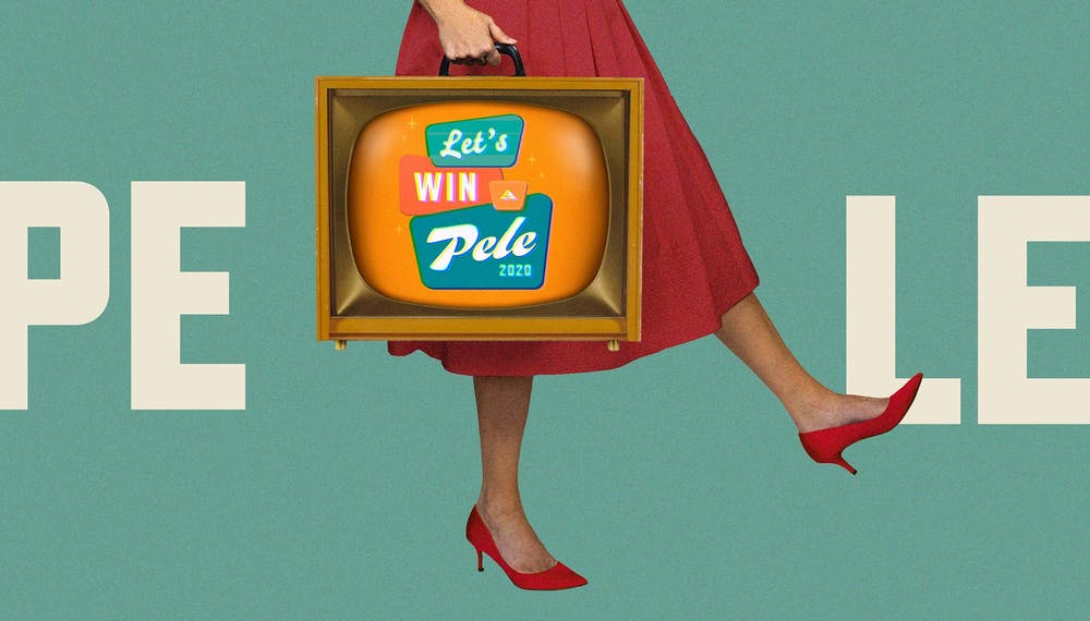 Mid-century retro-styled image of woman in a red dress holding a television set by its handle with the words