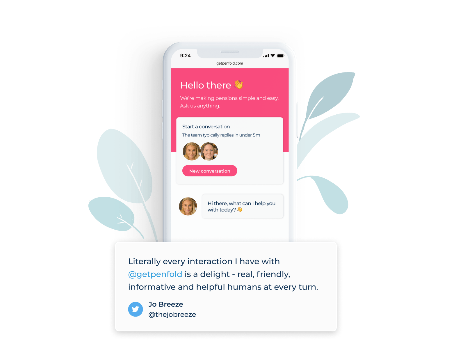 Tesimonial from Jo Breeze: Literally every interaction I have with @getpenfold is a delight - real, friendly, informative and helpful humans at every turn.