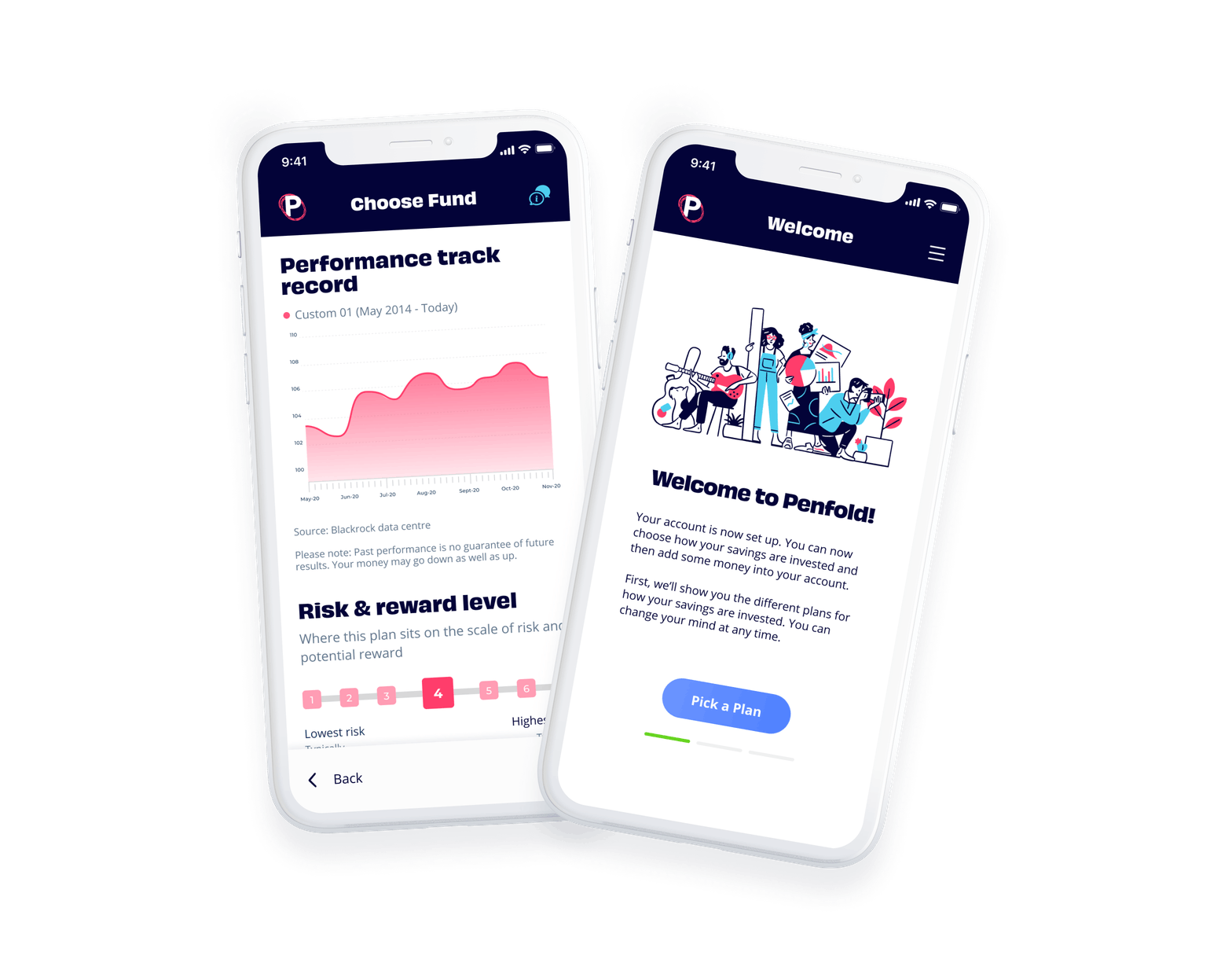 Penfold dashboard and risk selection screens