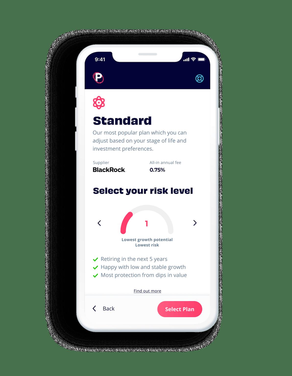 Penfold pensions app showing the standard plan supplied by BlackRock screen