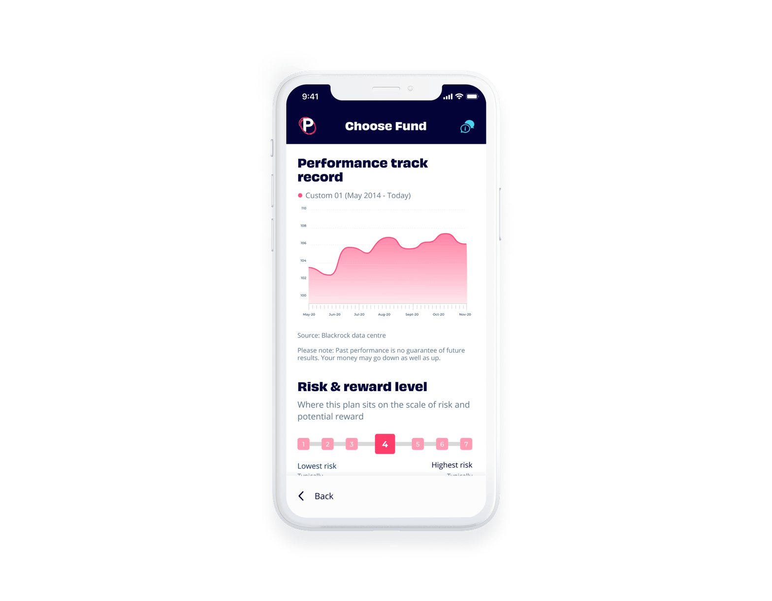 Penfold app showing pension fund performance track record screen