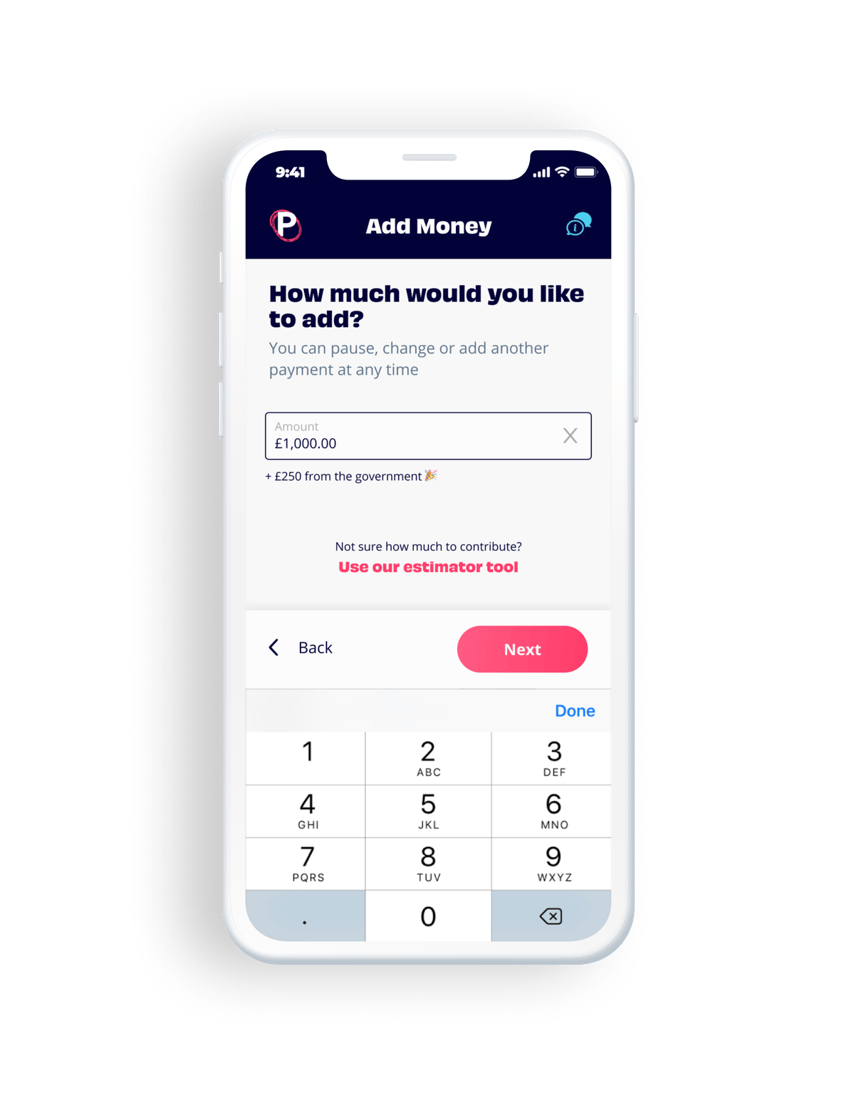 Penfold pensions app showing the deposit amount selector screen
