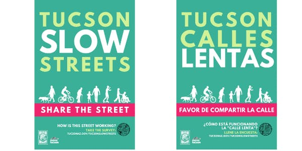 Tucson's Slow Streets fliers, in English and Spanish.