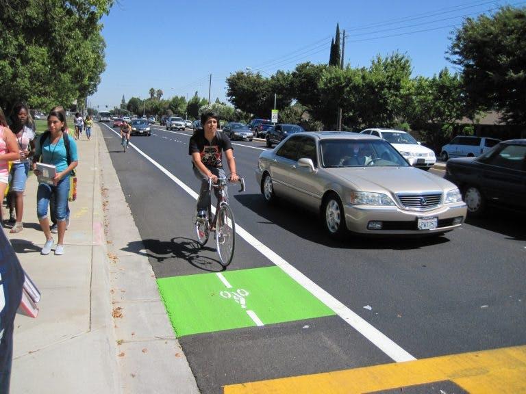 Biking in Modesto, California.