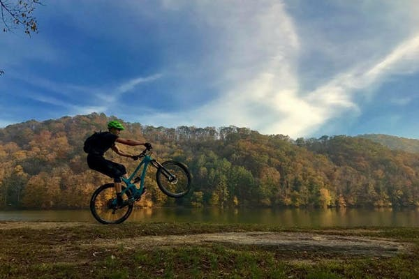 Riding the Sugarcamp Mountain Trails in Kentucky.