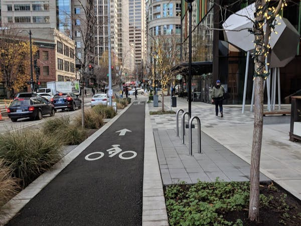 7th Avenue Protected Bike Lane in Seattle. Credit: Seattle Dept. of Transportation