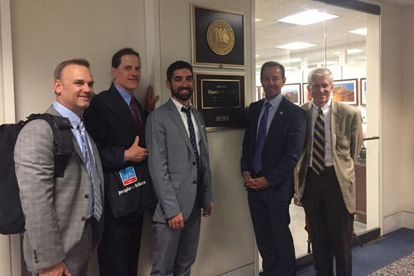 Ryan Miller (Shimano), Mike Delano (Giant), Saul Leiken (Specialized), Mike Olson (Trek Superstore), Bob Margevicius (Specialized)outside of Sen. Martin Heinrich (D-NM) office.