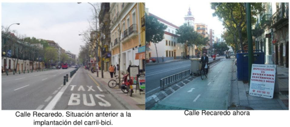 Calle Recaredo before and after