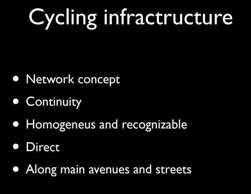 Slide from a presentation by Manuel Calvo about Sevilla's approach to low-stress bike infrastructure.