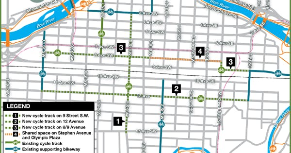 A city map of Calgary's downtown protected bike lane network pilot project.