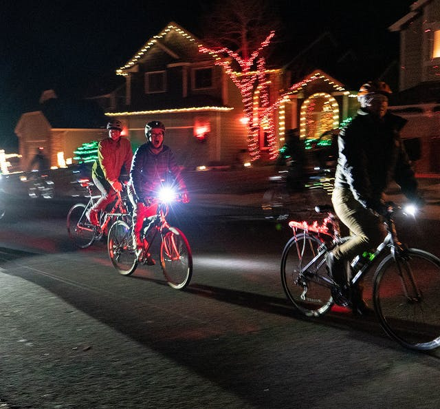 Holiday lights by bike in Fort Collins.